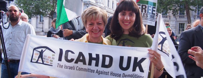 Two ICAHD supporters hold our flags